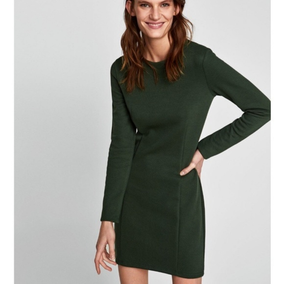 044632e9 Zara Dresses | Long Sleeve Knit Dress Bottle Green Nwt | Poshmark